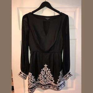 Bebe Black and White Long Sleeve Embroidered Dress
